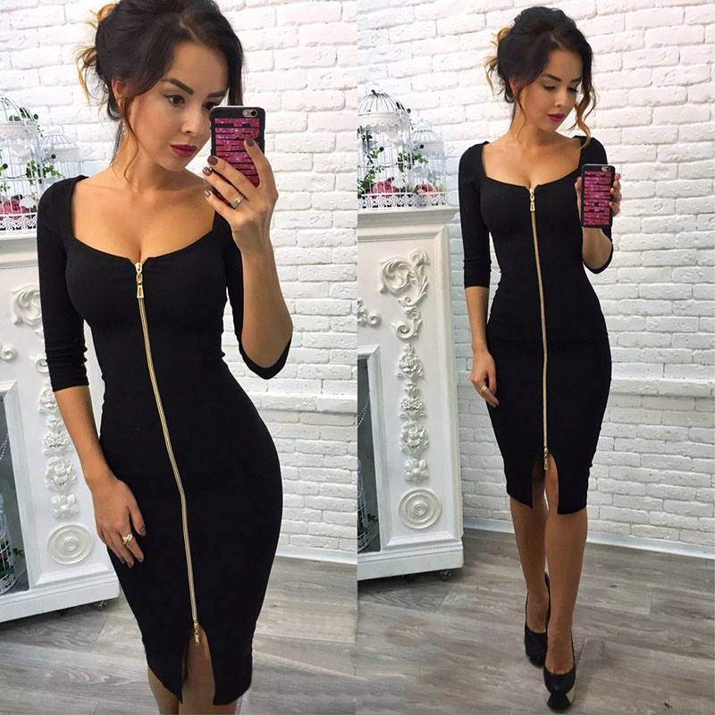 Autumn Knitting Dress 2018 Women Sheath Short Sleeve Black Blue Dress Knee-Length Square Collar Casual Zipper Dresses