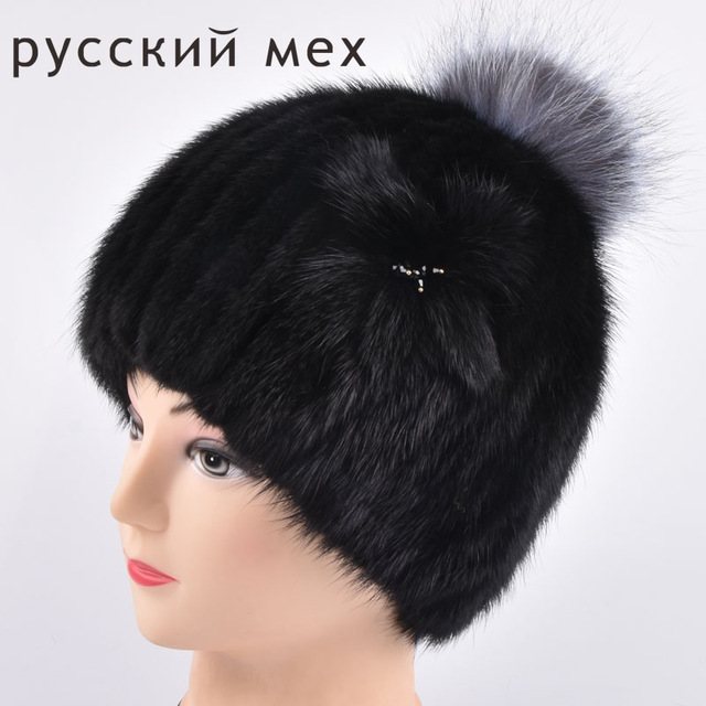 women mink knitting fur and silver fox fur hat winter warm Fashion women's real mink fur Fox ball knitted hat fur pom poms