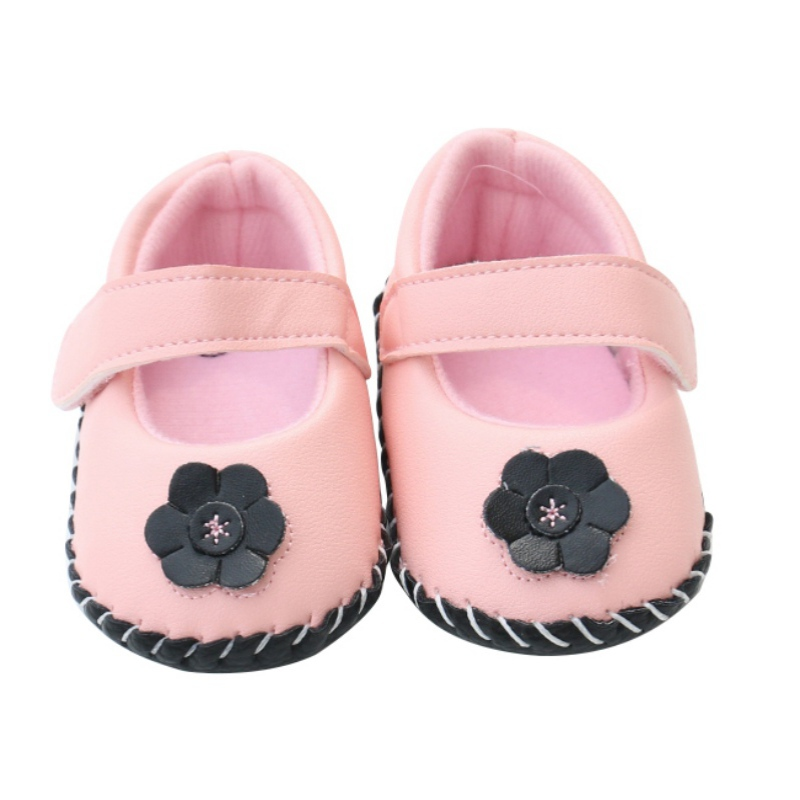 Baby Girls Spring Autumn Fashion Floral Shallow First Walkers Shoes Infant Solid PU Hook & Loop Shoes Cute