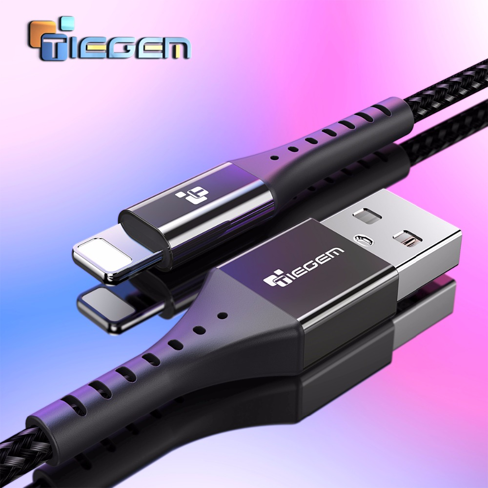 TIEGEM USB Cable For iPhone Cable Fast Data Cable For iPhone X 8 7 6 iPad Charging Charger Wire Cord Adapter Mobile Phone Cables