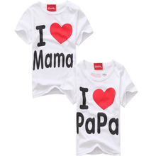Модные Дизайнерские летние тонкие короткий рукав Простой Письмо люблю маму и папу Детские Хлопковая футболка с коротким рукавом(China (Mainland))