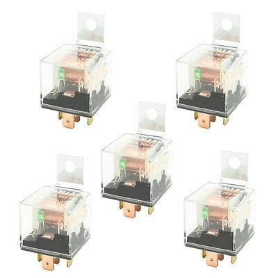 DC 24V 80A Insulating Housing 1NO 1NC SPDT 5-Pin Green Indicator Car Relay 5 PCS