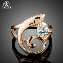 AZORA Luxury Sparkly Mystic Heart Cut Clear Cubic Zirconia Rings For Women Rose Gold Color Jewelry Gift Ring Anniversary TR0220