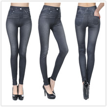 Fashion Slim Women Leggings Faux Denim Jeans Sexy Long Pocket Printing Summer Casual Pencil Pants dropship