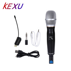 KEXU Pro UHF Wireless mic Handheld Vocal Microphone With Receiver Audio Cable USB Charge for Indoor Outdoor Activity Microphone