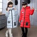 -30 grados de los niños por la chaqueta para niñas ropa 2016 de La Muchacha largo Fondo Engrosamiento niños ropa de Abrigo Suelto Sombrero Mágico parka 469