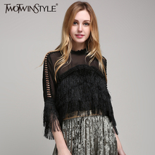 [TWOTWINSTYLE] 2017 Summer Transparent Sex Top Women's Shirt Crop Tops Female Blouse With Tassels Clothes Big Large Plus Size
