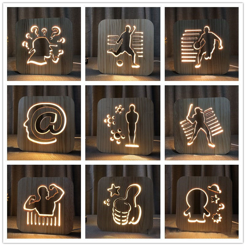 2018 new wood 3D light character image night light