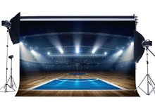 Basketball Court Backdrop Stadium Backdrops Crowd Shining Stage Lights Shabby Wood Floor Interior Background