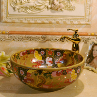 Antique Style Art Ceramic Porcelain Wash Basin Sink For Bathroom