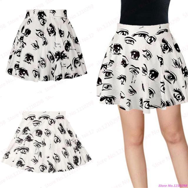 c706b7131d Nueva falda de las mujeres blancas Negro Grande Ojos impresión pettiskirt  evasé minifalda plisada deporte Tenis