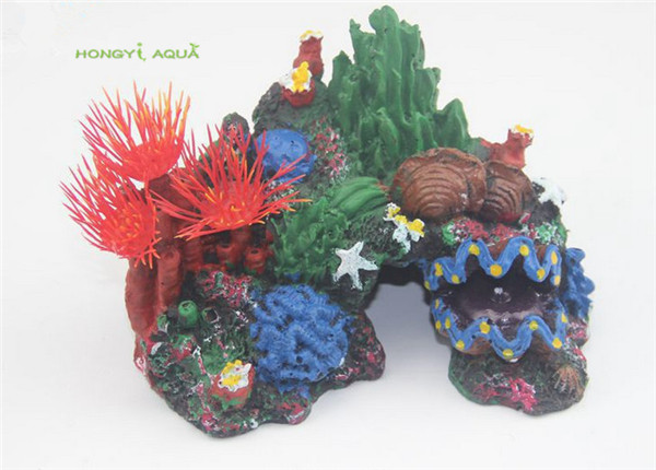 1piece resin fish tank decoration aquarium landscapes background course colorful resin rockery fake tree coral shell conch grass