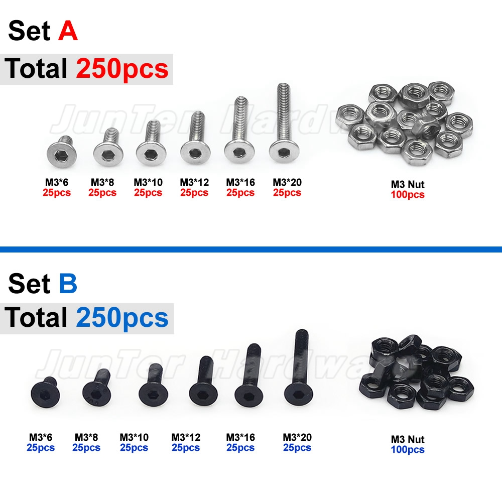 250pcs M3(3mm) A2 Stainless Steel Alloy Steel High Tensile Allen Bolts Flat Socket Head Cap Screws With Nuts Assortment 50pcs lot screws m3 8 bolts screw spike round head screw 3mm length 8 nuts assortment high quality novelty design cpc207