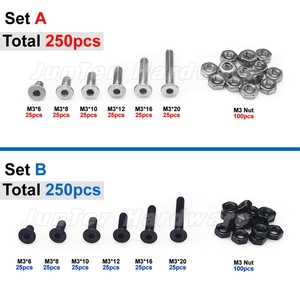 250pcs M3(3mm) A2 Stainless Steel Alloy Steel High Tensile Allen Bolts Flat Socket Head Cap Screws With Nuts Assortment