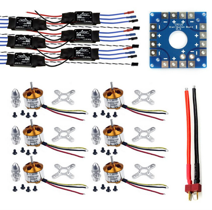 F04997-A JMT Assembled Kit: 30A ESC + Motor + KK ESC Connection Board Connectors Dean T Plug Wire for 6-Aix Drone Hexacopter tangda connectors servo motor plug aviation plug vw3m8122 17p 17pin 17 core ms3108b 20 29s elbow ydm30200447 a