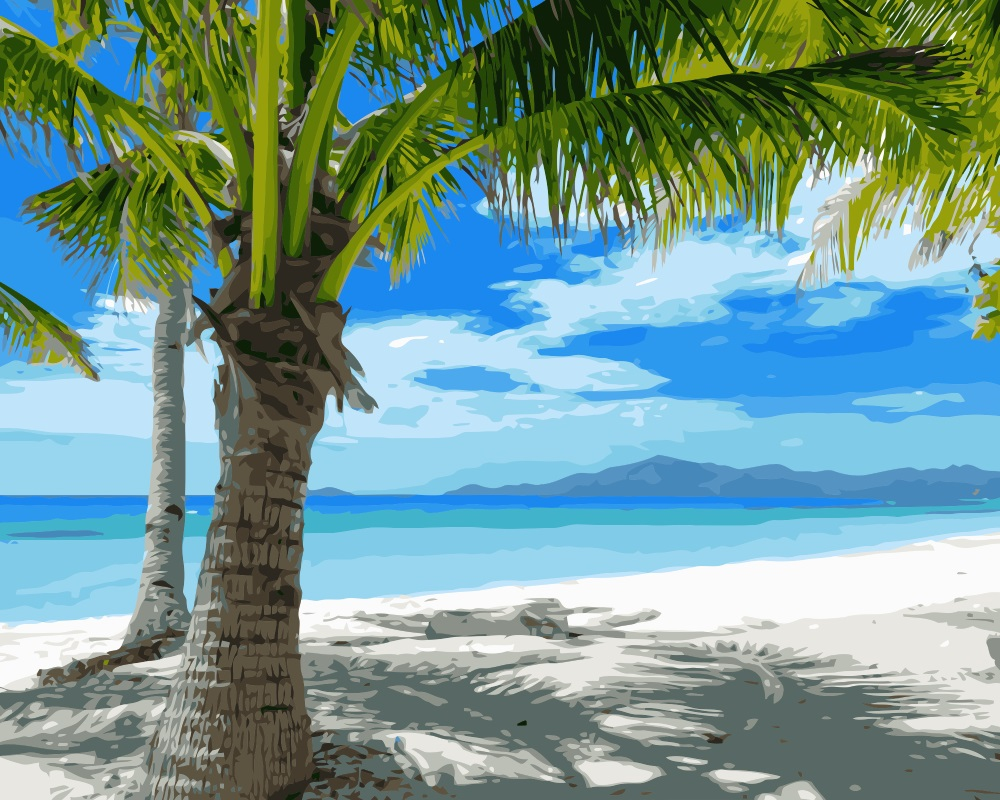 mahuaf i093 painting by numbers landscape beach tropical. Black Bedroom Furniture Sets. Home Design Ideas