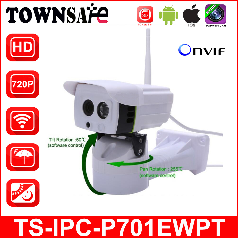 TOWNSAFE new SP-P701EWPT HD 720P Bullet IP Camera Wireless Wifi Pan/Tilt Security Cam Waterproof IP66 P2P IR With SD Card Slot bullet camera tube camera headset holder with varied size in diameter