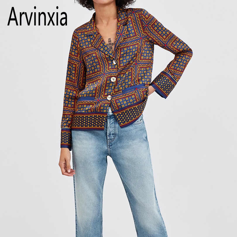 Arvinxia ZA Sexy Plaid Deep V Neck Woman Shirts New Arrivals Comfort Long Sleeves Low V Ladies Blouse Casual Button Loose Blusas