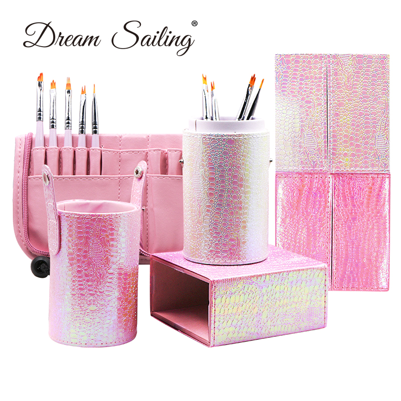 PU <font><b>Mermaid</b></font> Shinning Design Cosmetic <font><b>Makeup</b></font> <font><b>Brushes</b></font> <font><b>Bags</b></font> Pens Holder <font><b>Brush</b></font> Organizer Artifact Make Up Tools Pink Pearl White New image