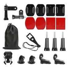 Tiro para gopro 9 acessórios conjunto capacete base de superfície 3 way tripé montagem para gopro hero 9 8 7 6 5 xiaomi yi 4k sjcam sj4000 eken