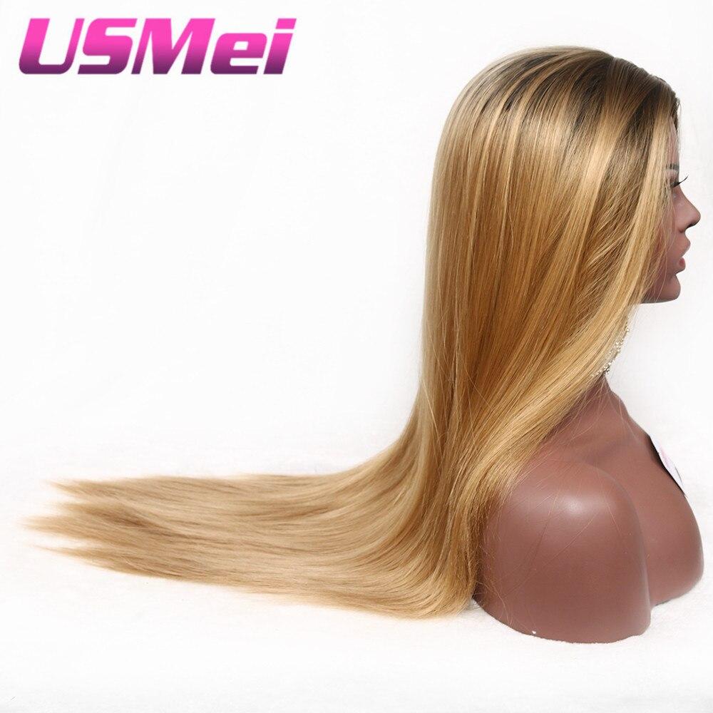USMEI 30 tum långa raka svarta rötter ombre peruk blonda bruna - Syntetiskt hår - Foto 2