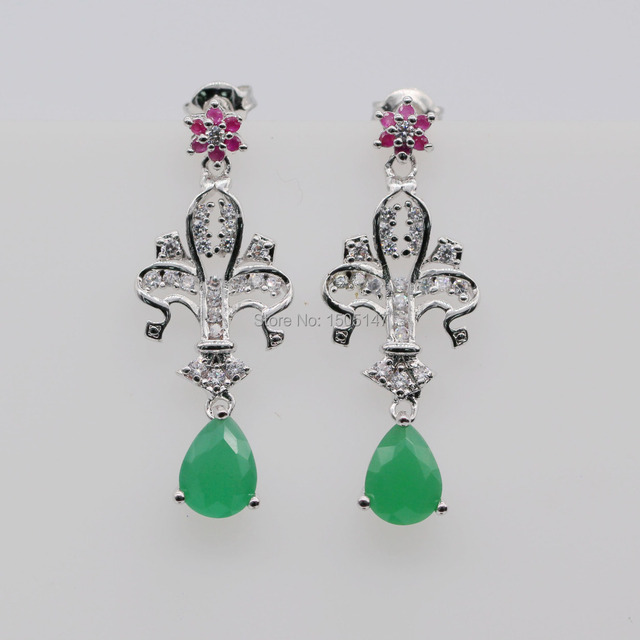 Fashion Design Gold Plated Created Ruby & Emerald Teardrop Cross Earrings For Women Wedding Engagement Jewelry