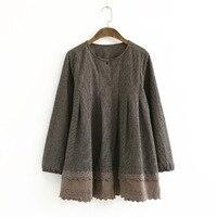 Mori Girl Hippie Boho Vintage Retro Embroidery Crochet Lace Ruffle Plaid Cotton Linen Shirts Spring Coats