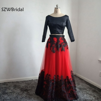 New Arrival Long sleeve evening dresses 2020 robe de soiree Black Red Lace abendkleider Cheap long dress Evening gowns