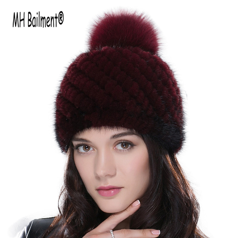 Real Mink Fur Knitted Hat for Women Winter Knitted Mink Fur Beanies Cap with Fox Fur Pom Poms Brand New Thick Female Hat H#71 real mink fur hat for women winter knitted mink fur beanies cap fox fur pom poms brand new thick female cap
