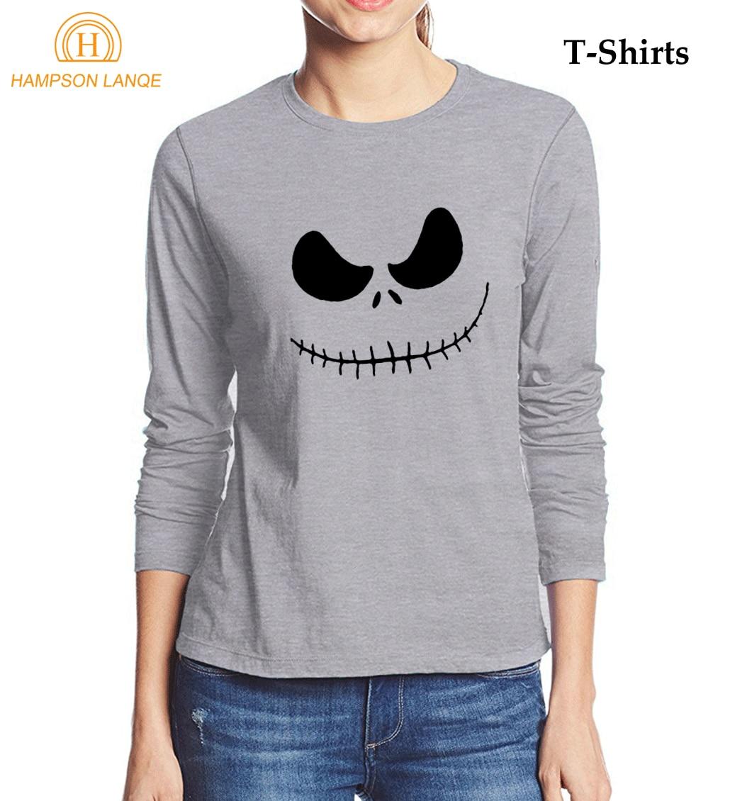Jack Skellington Evil Face Punk Style T-Shirt 2017 Autumn 100% Cotton Long Sleeve T Shirt Women Kawaii Brand Tee Shirt Femme