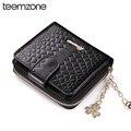 teemzone Minimalist Smooth Zipper Hasp Women Genuine Leather Cowhide Bifold Coin Zipper Credit Card holder ID Window Purse Q455