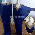 Azul fantasia Dubai Kaftan Abaya Musilim de Chiffon até o chão decote em V frisada Prom vestido de festa vestido