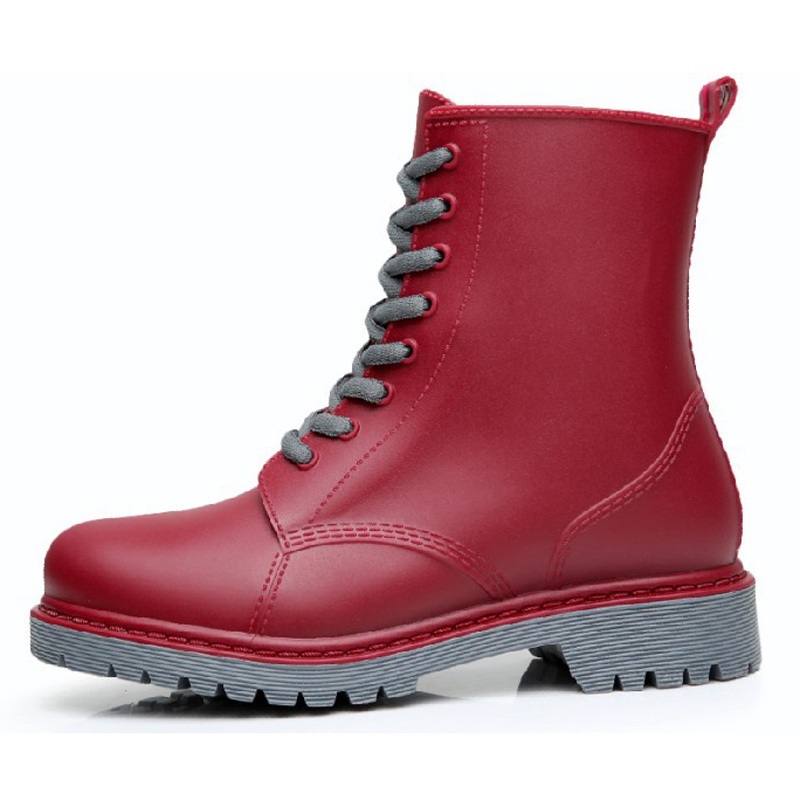 Image 4 - Feng Nong Rain Boots Waterproof Shoes Woman Water Rubber Lace Up Mature Boots Sewing Solid Flat With Shoes Chundong809-in Ankle Boots from Shoes