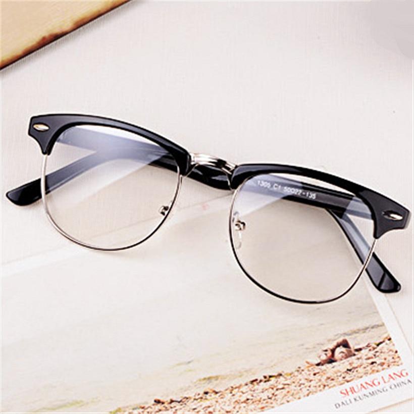 hot fashion retro half frame glasses frame men women optical glasses with clear glass transparent