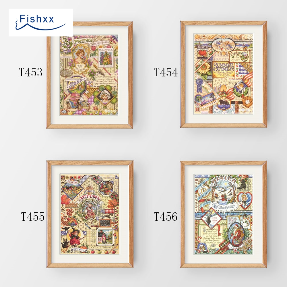 Fishxx Cross Stitch Kit T453-456 JAN Square Four Figures Spring Summer Autumn Winter Four Seasons Sampler Hand Embroidery