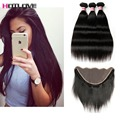 Grade 8A Brazilian Straight Hair Weaves With Frontal Closure 4 Bundles deal Hot Brazilian Virgin Human Hair with Closure
