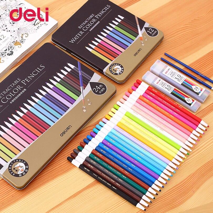Deli School Supplies barevné tužky Watercolor Painting pera Barevné tužky pro studenty 12/24 barev sada Artists Supplies