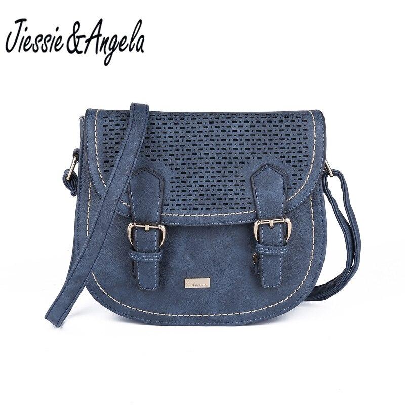 Jiessie & Angela New Vintage Women Messenger Bags PU Leather Women Handbag Hollow Out Crossbody Bag Bolsa Feminina
