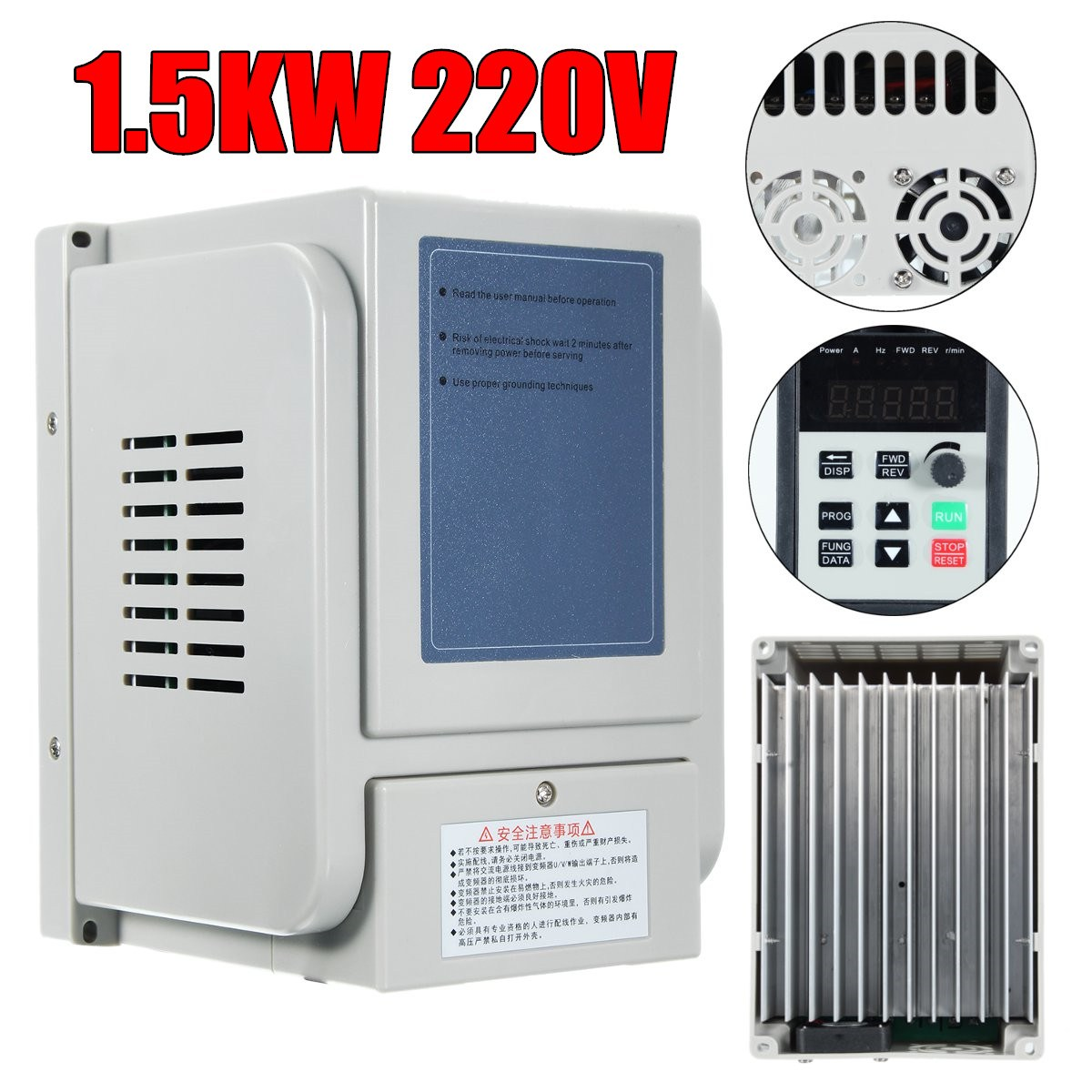 Brand New 1.5KW 2HP 8A 220V AC Single Phase Variable Frequency Drive Inverter VFD new variable frequency drive vfd inverter 1 5kw 2hp 220v 7a 1 5kw inverter with potentiometer knob 220v ac