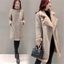 Korea Style 2017 New Winter Elegant Women Coat Big Yards Medium Long Suede Coat Cotton Jacket Thick Warm Winter Down Coat SK170