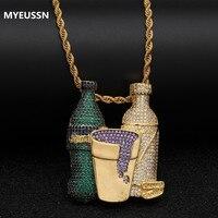 Hip Hop Cubic Zircon ice Double Sprite Bottle Purple Cup Pendant Necklace Gold Silver Tennis Chain Men's Jewelry