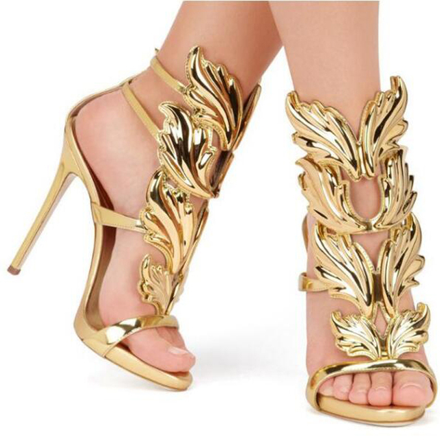 Hot sell women high heel sandals gold leaf flame gladiator sandal shoes  party dress shoe woman patent leather high heels 72376f71247c