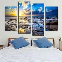 Mar azul Clound Paisagem Parede Pictures Pintura Sobre Tela Mar Rochas Modular Impressão Poster Sala Decoração Da Parede