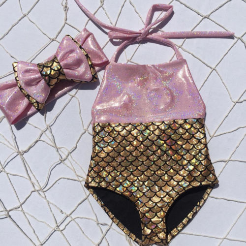 חמוד ילדה תינוק ילדים נסיכת בת ים וחוף בגד ים בגדי ים הלטר Bowknot שחיה בגד ים ביקיני Swimmable