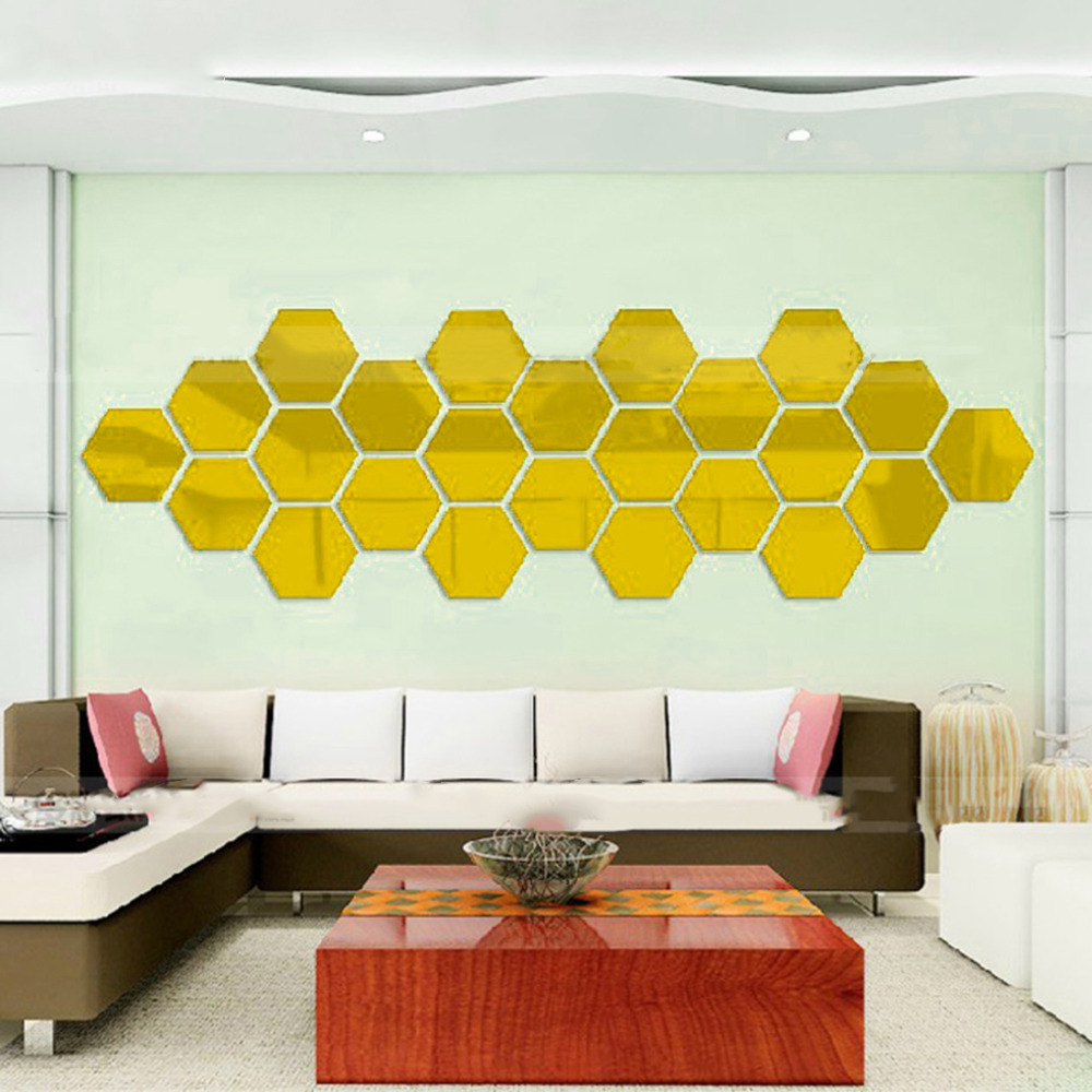 2018 Hot Hexagonal 3D Mirrors Wall Stickers Home Decor Living Room ...