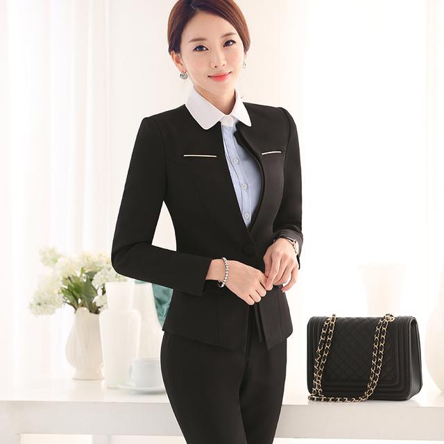 2016 de Las Mujeres Trajes de Negocios Oficina Formal Traje pantalón Diseños de Uniformes Ropa de Trabajo femenina 2 Unidades Establece Un Botón Blazer con pant