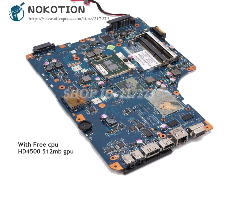 купить NOKOTION For Toshiba Satellite L500 L505 Laptop Motherboard HM55 DDR3 HD4500 Free cpu K000092520 NSWAA LA-5322P по цене 6701.83 рублей