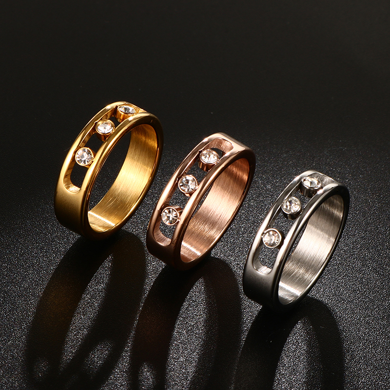 Personalized Three Crystal Rings for Women Rose Gold Color Stainless Steel High Polished Women Wedding Rings Jewelry