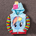 2016 children's wear girl cartoon zipper pony treasure leah looped hooded jacket multi-color optional children's coat