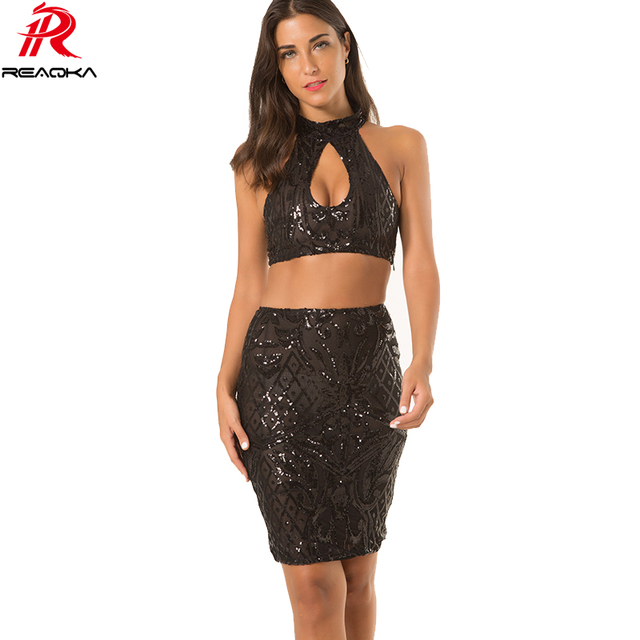 Reaqka Sexy Women Summer Sequins Dress 2018 Chic Two Pieces Set Club Woman Sundress Black Party Dresses Bodycon Vestidos Mujer